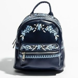 Handbags - NEW navy blue floral embroidered mini backpack bag